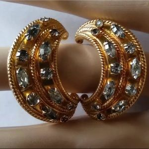 Gold Rhinestone Crescent Moon Clip On Earrings